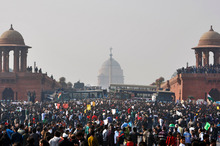 People crowd outside the Presidential Palace as they protest against a brutal gang rape of a 23-year-old student, in New Delhi, India. Photo / AP