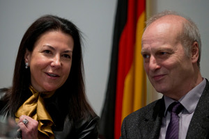 Eurojust president Michele Coninsx and Bochum police chief investigator Friedhelm Althans, who has driven the match fixing inquiry. Photo / AP