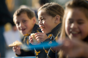 Billie-Bayne Talo-Ngamoki, 6, has breakfast at Manurewa South School courtesy of KidsCan. Photo / Richard Robinson