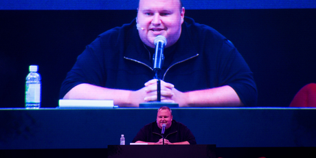 Internet tycoon Kim Dotcom at the launch of his new encrypted file-sharing service Mega. Photo / Richard Robinson