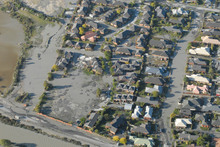 Liquefaction in the eastern Christchurch suburb of New Brighton. Photo / NZ Herald