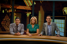 TV One's Seven Sharp presenters (left to right) Jesse Mulligan, Ali Mau and Greg Boyed in the studio. Photo / Michael Craig