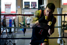 Sports star Sonny Bill Williams training for his upcoming boxing match against Francois Botha. Photo / Dean Purcell