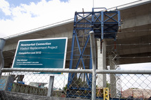 The Auckland Motorway Alliance says it has been waiting for work on the Newmarket Viaduct replacement project to be completed. Photo / Kellie Blizard