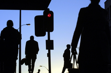 Inner city workers race the red light during the 5pm rush in Auckland. Photo / David White