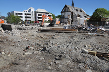 Demolition of the earthquake damage in Christchurch. Photo / The Star
