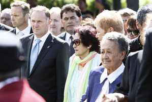 John Key, Titewhai Harawira and Naida Glavish (partly obscured) and Ani Taurua coming onto Te Tii Marae after much negotiation. Photo / Michael Cunningham