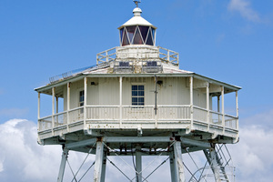 Bean Rock Lighthouse is the landmark in the Waitemata Harbour swimmers must round.  Photo / David Rowland.