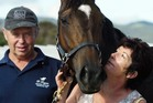 Dean and Donna Logan with their high-class filly Habibi, who will probably contest the Avondale Guineas on her way to the Derby.  Photo / APN