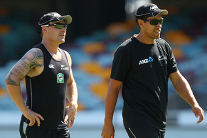 Ross Taylor's (right) first morning back in camp was no time for a beer, but the former skipper thinks he and Brendon McCullum will share a drink in the coming days. Photo / AP