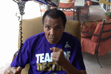 Muhammad Ali shows his support for the Baltimore Ravens in this photo posted to Twitter today.