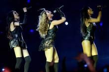 Destiny's Child perform at the Super Bowl halftime show. Photo/AP