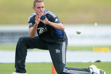 Stuart Broad takes part in a fielding drill during a nets session at Cobham Oval. Photo / Getty Images 
