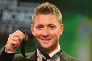 Michael Clarke of Australia poses after winning the Allan Border Medal. Photo / Getty Images