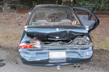 The woman's car was seriously damaged in the incident. Photo / supplied