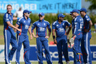 Stuart Broad of England, left, celebrates with teammates after taking a hattrick. Photo / Getty Image