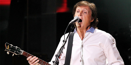 Paul McCartney performs at the Sandy Relief concert in New York. Photo/AP