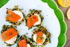Courgette and dill fritters with creme fraiche and salmon. Photo / NZH