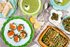 Chilled courgette soup, courgette fritters with somked salmon and courgette tart. Photo / NZH