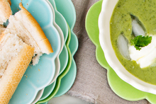 Chilled courgette and mint soup. Photo / NZH
