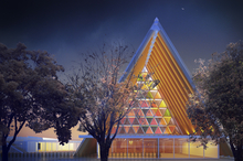 An artist impression of the Cardboard Cathedral. Photo / Supplied