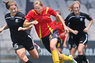 Helen Collins, centre, has been named in the Football Ferns squad. Photo / Ben Fraser