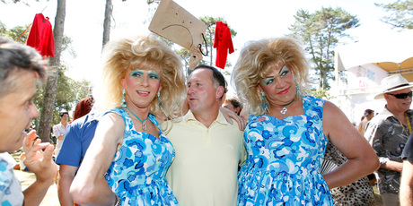 Prime minister John Key mixes with the crowd at the Big Gay Out. Photo / Michael Craig 