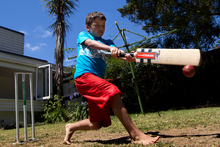 Louie Chandulal, 8, scored 104 runs off five overs, including eight sixes in a row.  Photo / Brett Phibbs