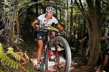 Karen Hanlen races to victory in the Womans Elite race in the Bike NZ Mountain Bike Cup Series at the Hunua Ranges. Photo / Simon Watts