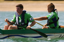 Regaining fitness is the challenge for Colin Slade (left), who with Tony Ensor competed in a waka ama challenge yesterday. Photo / Getty Images
