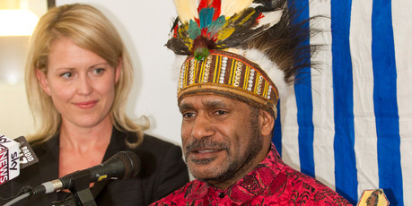 West Papuan independence leader Benny Wenda, with lawyer Jennifer Robinson, says aid from New Zealand sent to Indonesia does not reach indigenous people. Photo / Mark Mitchell 