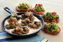 Oyster rockefella and broad bean pea and mint bruschetta. Photo / Doug Sherring, HOS
