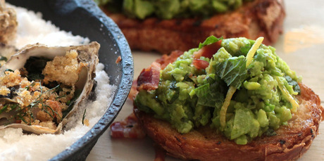 Broad bean pea and mint bruschetta. Photo / Doug Sherring