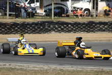 Series champion elect Steve Ross (McRae GM1) leads Clark Proctor in the second MSC race at the MSC NZ F5000 Tasman Cup Revival Series. Photo / Credit Fast Company/Alex Mitchell. 