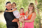 MP Richard Prosser at home with his daughters and partner Mel Francis. Photo / Martin Hunter