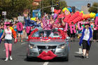 Auckland Pride Festival Parade on Ponsonby Rd. Pictured are Lola Bangaway, Summer Clearance and Carmen Geddit, the three homecoming queens. Photo /Doug Sherring.