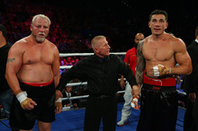 Francois Botha and Sonny Bill Williams after their heavyweight bout in Brisbane. Photo / Getty Images