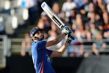 England's Alex Hales gets into the big-hitting action against New Zealand at Eden Park. Photo / Getty Images