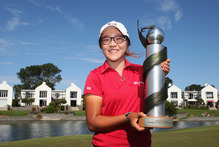 Lydia Ko with the NZ Women's Open trophy after winning at Clearwater yesterday. Photo / Getty Images