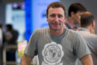 36-year-old Paul Lambert arriving back at Auckland International Airport after spending time working in China and Korea. Photo / NZ Herald