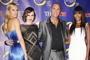 Models, from left, Karolina Kurkova, Coco Rocha and Naomi Campbell, with photographer Nigel Barker.Photo / AP