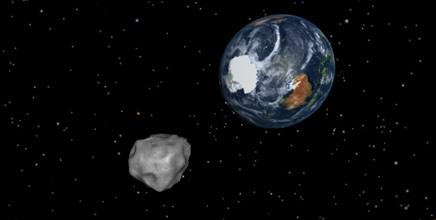 This image shows a simulation of asteroid 2012 DA14 approaching Earth. Photo / AP/Nasa/JPL-Caltech