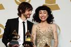 Gotye and Kimbra hit the music world spotlight with their Grammy Awards. Photo / AP