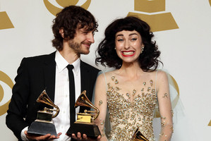 Gotye and Kimbra hit the music world spotlight with their Grammy Awards. Photo / AP
