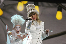 Taylor Swift opened the 55th annual Grammy Awards dressed as a Mad Hatter. Photo / AP