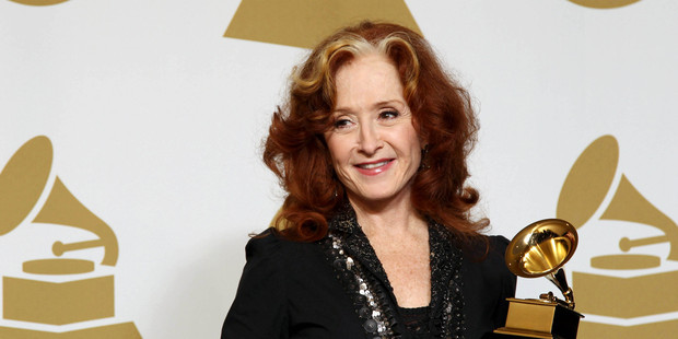 Bonnie Raitt poses backstage with the award for best americana album for Slipstream at the Grammy Awards. Photo / AP
