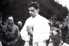 Father Joseph Ratzinger celebrates an open air Mass in Ruhpolding, southern Germany, 1952.  Photo / AP