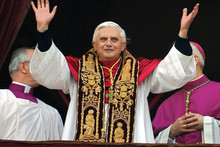 Pope Benedict blesses the crowd on the day of his election in April 2005. Photo / AP