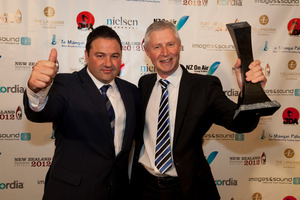 Duncan Garner and Mark Jennings of TV3 at last year's New Zealand Television Awards. Photo / Neville Marriner