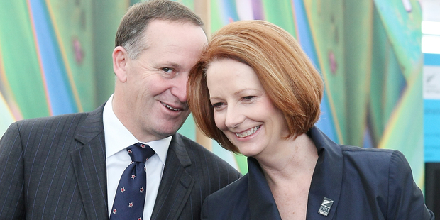 Prime Minister John Key and Australian Prime Minister Julia Gillard. Photo / Greg Bowker
